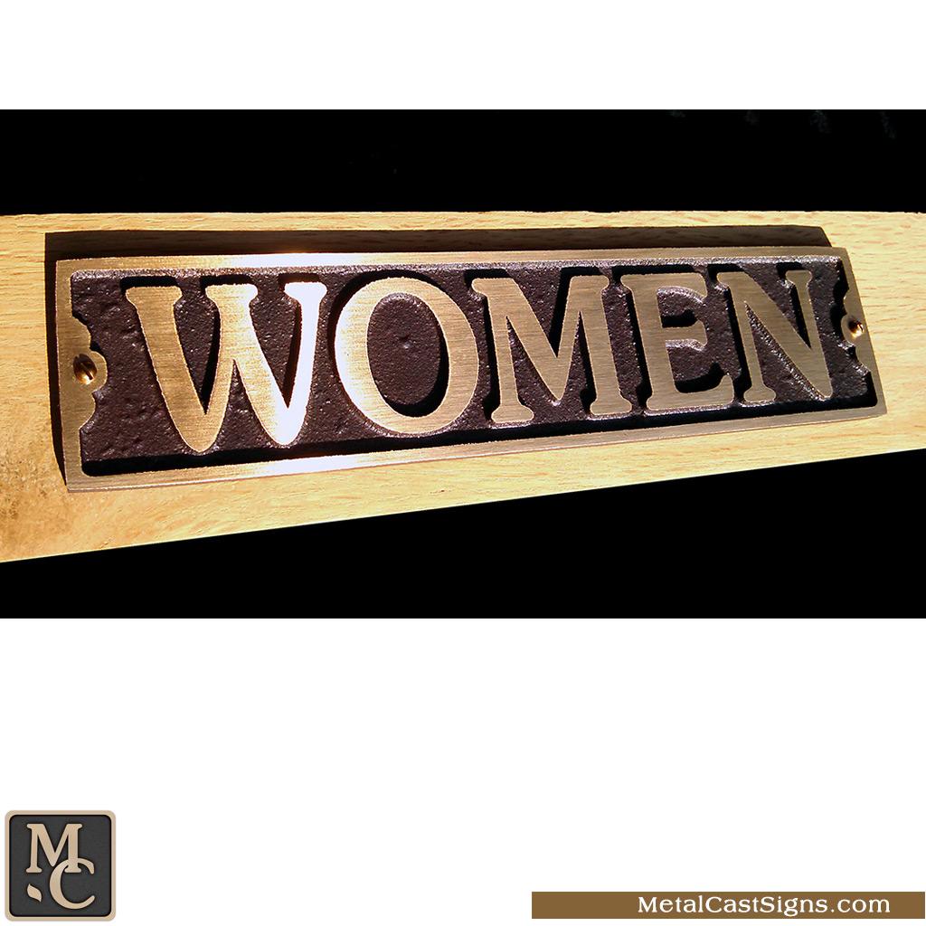 WOMEN cast bronze restroom / bathroom sign - 9.5in