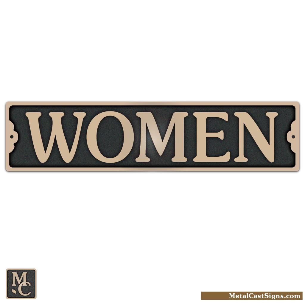 WOMEN bronze restroom sign - 9.5in