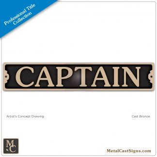 Captain 9.5in title plaque sign bronze