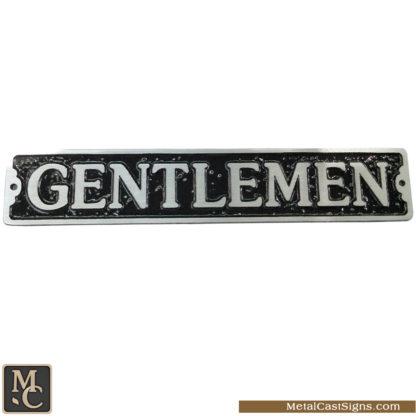 Gentlemen 9.5inch x 1.75inch restroom sign - aluminum