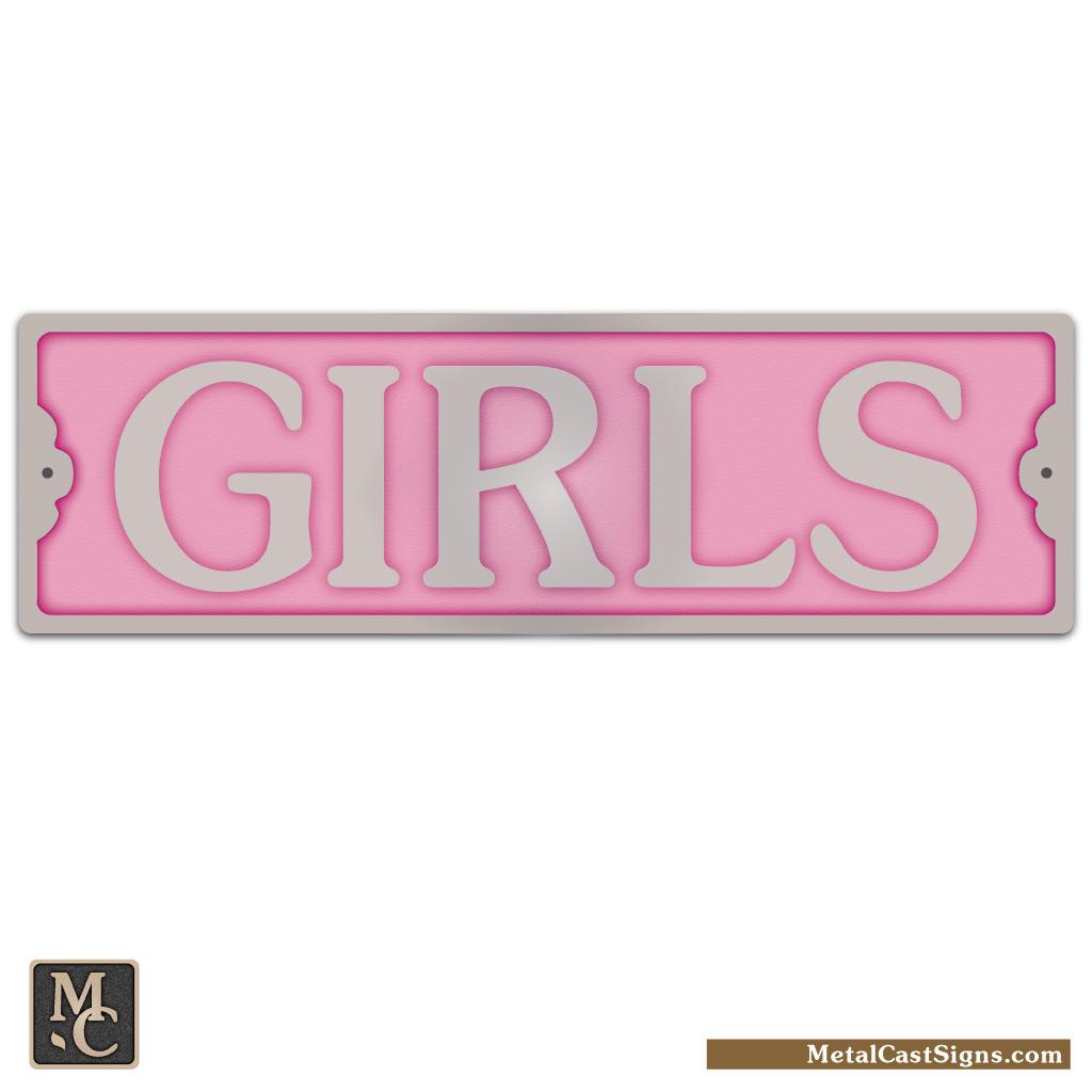 Girls 8 25 Aluminum Door Sign Metal Cast Sign Co