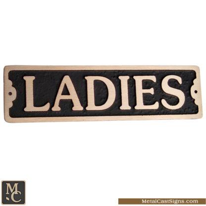 Ladies cast bronze bathroom sign 7.5in x 2in