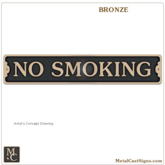 No Smoking 10 inch cast bronze sign