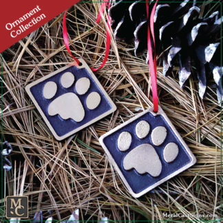 Cat paw print Christmas / Holiday Ornament - cast bronze