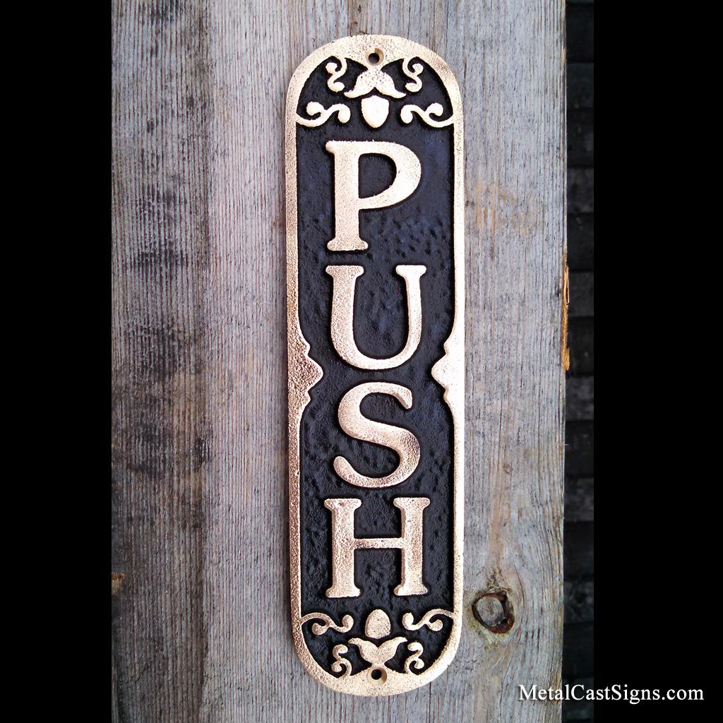 Ornate PUSH door sign - cast bronze & PUSH - Bronze Door Sign - Metal Cast Sign Co.