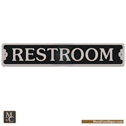 "Restroom Sign - cast aluminum - 7.5"" wide"